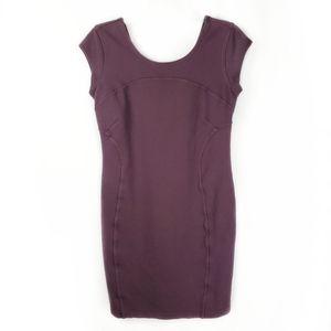 Athleta bodycon cap sleeve dress plum size M